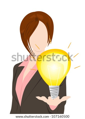 business woman with idea concept - stock vector