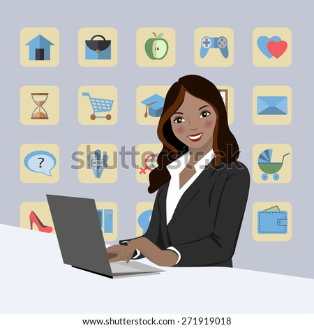 Business woman with laptop - stock vector