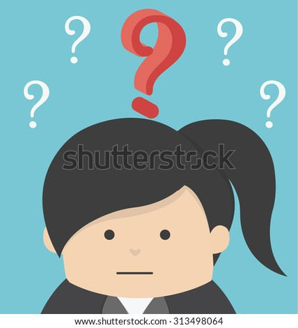 Business Woman with question  - stock vector