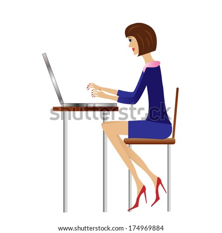 business woman work in office, vector illustration - stock vector