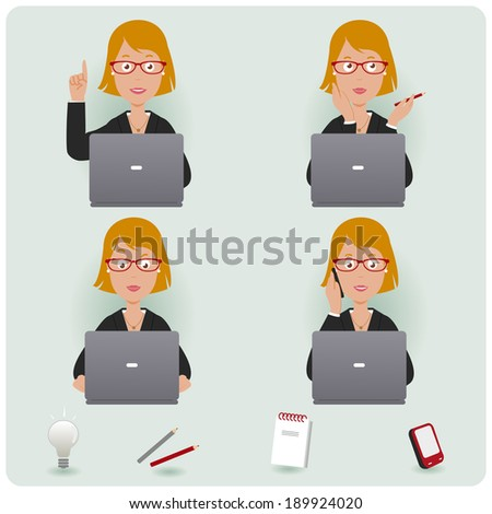 Business woman working. A businesswoman  at work sitting on her desk and working on her laptop.  - stock vector