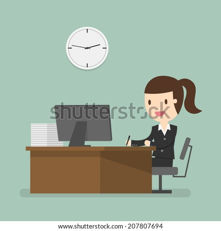 Business woman working in office hour - stock vector
