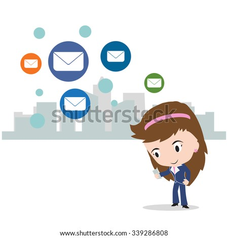 business woman working on internet for send mail to social network concept, isolated on white background, vector illustration - stock vector