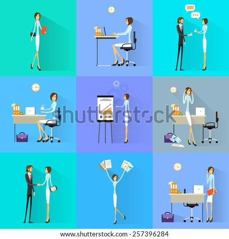 Business woman working set office desk flat design vector illustration - stock vector