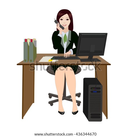 Business woman. Workplace in the office. A employee working at the computer. She is talking on the phone with clients. - stock vector