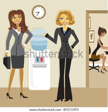 Business Women at the Water cooler - stock vector