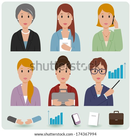 Business women avatar icons. A vector set of business people and business icons.  - stock vector