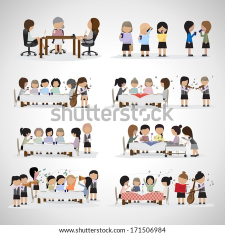 Business Women In Office And In The Restaurant With Musicians - Isolated On Gray Background - Vector Illustration, Graphic Design Editable For Your Design - stock vector