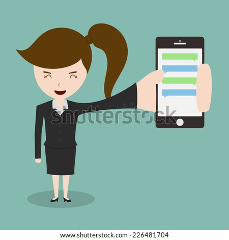 Business women showing smartphone with chatbox,Vector EPS10. - stock vector