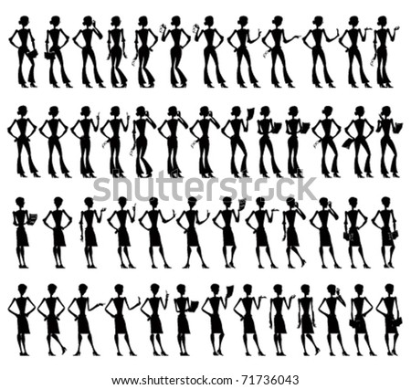 Business women silhouettes set in different poses and actions. - stock vector