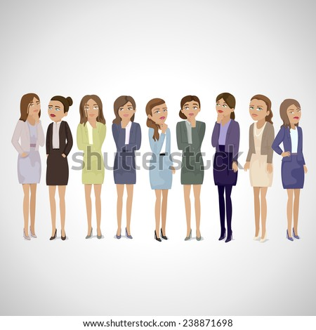 Business Women Thinking - Isolated On Gray Background - Vector Illustration, Graphic Design Editable For Your Design. Business Concept  - stock vector