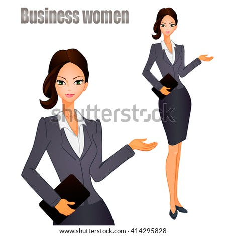 Business women with black hair. VECTOR illustration. - stock vector