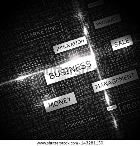 BUSINESS. Word cloud concept illustration.
