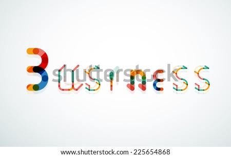 Business word keyword font, minimal line design - stock vector