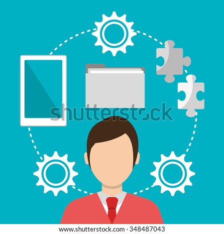 Business work and solutions graphic design, vector illustration