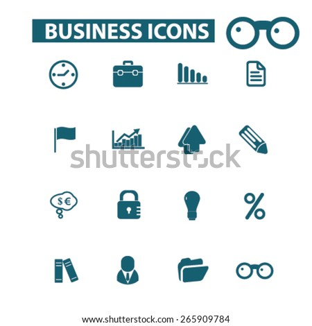 business, work, presentation icons, signs, illustrations design concept set for appliciation, website, vector on white background - stock vector