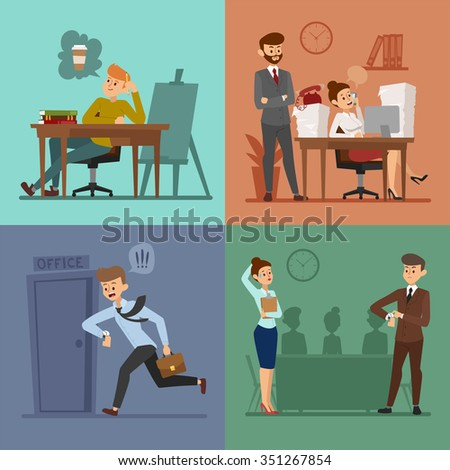 Business work time lag vector illustration. Procrastination concept. People delay, time late business procrustinate cartoon vector. Time delay, time lag, bad workers. Office people stress situation - stock vector