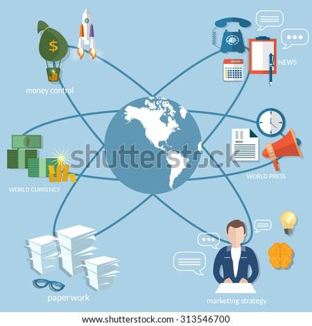 Business world concept money transfer transactions finance online payment management startup businessman vector illustration - stock vector