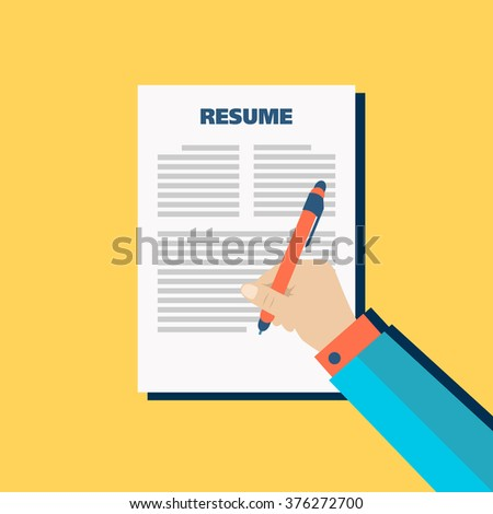 Business yellow background with resume, vector - stock vector