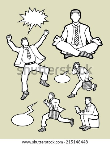 Businessman activity icons sketch. Happy, running, meditation, calling, and using laptop. Busy male with speech bubbles drawing style. - stock vector