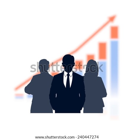 businessman against the economic schedule with loss of sharpness of a background - stock vector