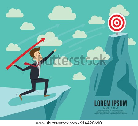 Businessman aiming target. Concept business vector illustration