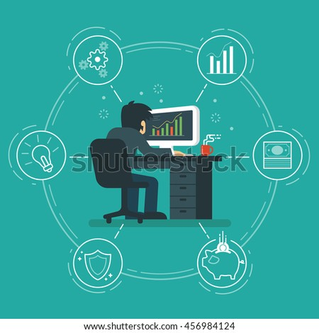 Businessman analyzing graphs vector illustration