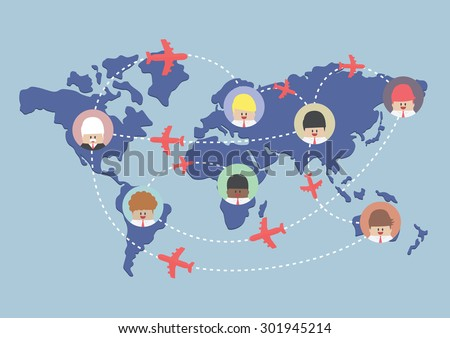 Businessman and airplane routes on world map, VECTOR, EPS10 - stock vector