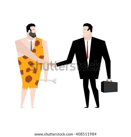 Businessman and ancient people make deal. tradel with Businessman prehistoric. Young and old manager shake hands. Handshake with Neanderthals. Agreement between office people. Homo sapiens in tie - stock vector