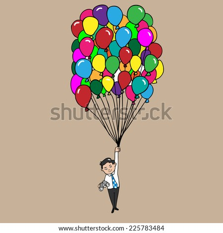 Businessman and binocular flying with balloons - stock vector