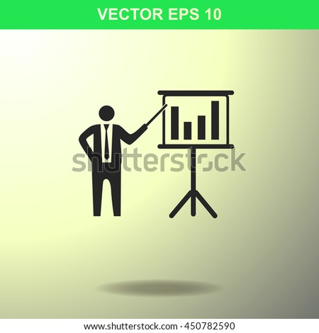 Businessman and blackboard icon. Illustration for business. - stock vector
