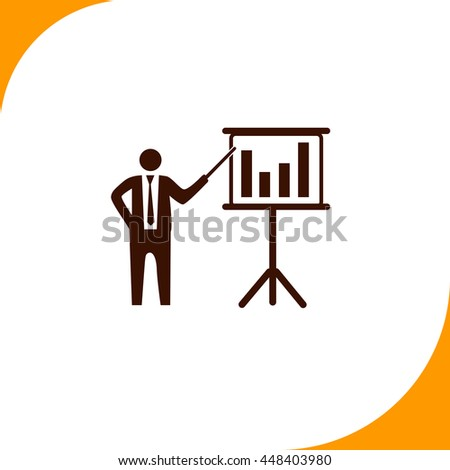Businessman and blackboard sign. Brown icon on white background - stock vector