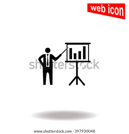Businessman and blackboard. Universal icon to use in web and mobile UI - stock vector