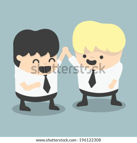 businessman and boss high five Congratulate - stock vector
