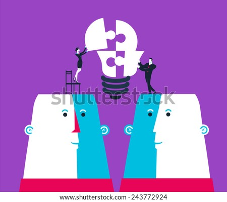 Businessman and business woman completing a bulb puzzle. Vector illustration .  Global colors. Eps10 - stock vector