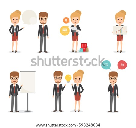 Cartoon businessman poses businessman isolated on stock for Character designer job