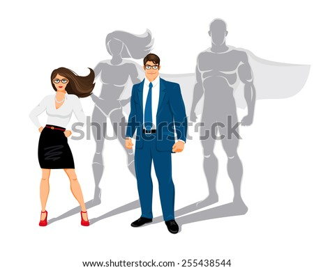 Businessman and business woman office superheroes. superman and confidence, people and business, power and shadow. Vector illustration - stock vector