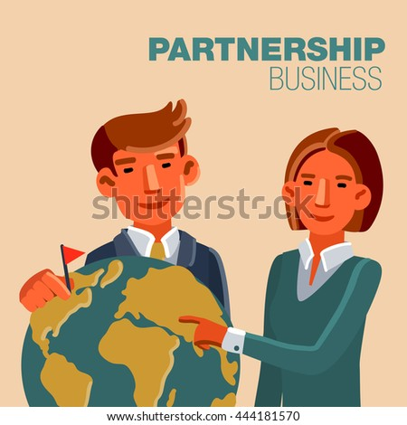 Businessman and business woman with world map - stock vector