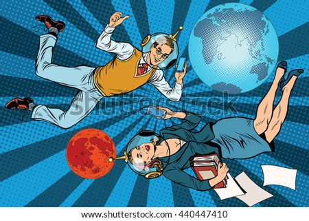 Businessman and businesswoman astronauts pop art retro vector. Man and woman at work. Mission to Mars - stock vector