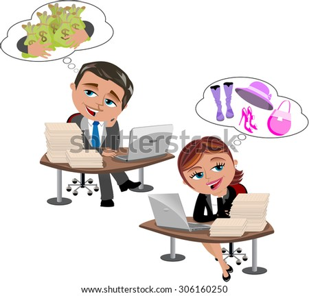 businessman and businesswoman at own office desk  thinking or daydreaming about money and shopping items respectively isolated