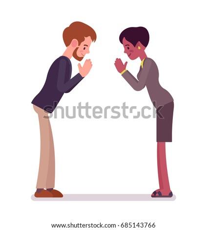 Businessman businesswoman bow gesture proper crosscultural stock businessman and businesswoman bow gesture proper cross cultural greeting etiquette business manner concept m4hsunfo