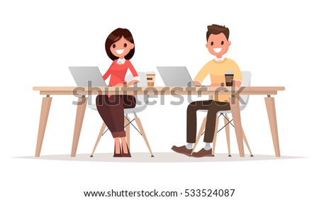 Businessman and  businesswoman for the common desktop work computer. Vector illustration in a flat style