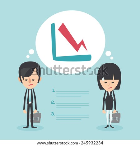 Businessman and businesswoman frustrated with decrease arrow chart. Economic crisis concept. Vector illustration  - stock vector