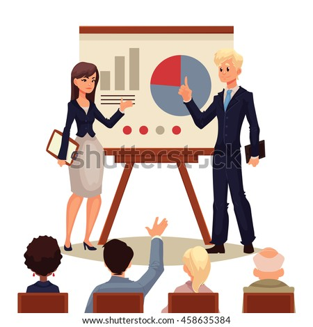 Businessman and businesswoman giving presentation with a board, sketch style vector illustration isolated on white background. Male and female managers presenting a chart to a group of people - stock vector