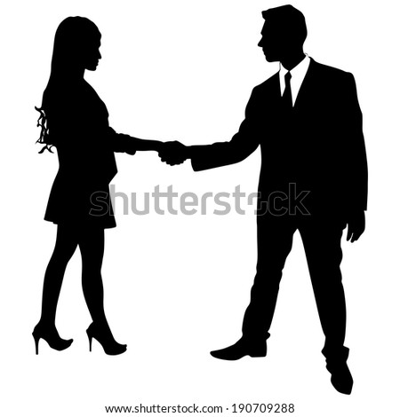 businessman and businesswoman handshake, vector  - stock vector