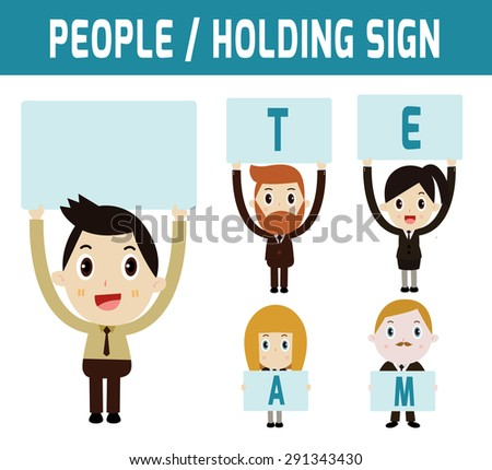 Businessman and businesswoman holding a sign. Graphic vector illustration. Europeans, Asian, Caucasian. Modern design flat  isolated on white background. - stock vector