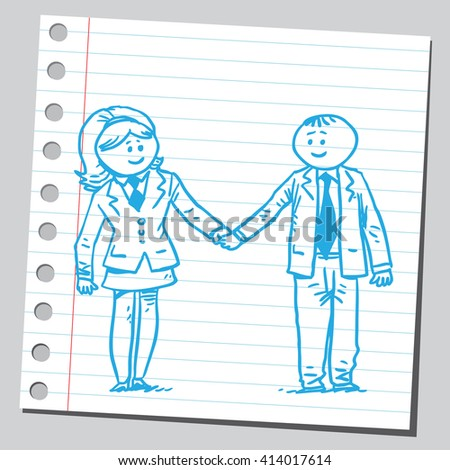 Businessman and businesswoman holding hands - stock vector