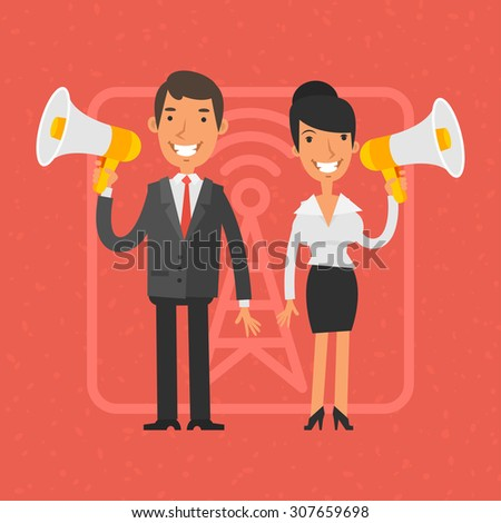 Businessman and businesswoman holding megaphone and smile - stock vector