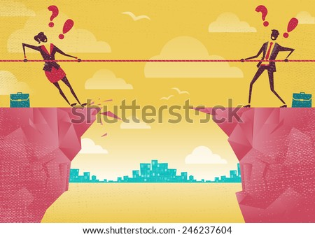 Businessman and Businesswoman in Tug of War on Clifftop. Great illustration of Retro styled Businessmen embroiled in a war of attrition on the top of the cliffs. - stock vector