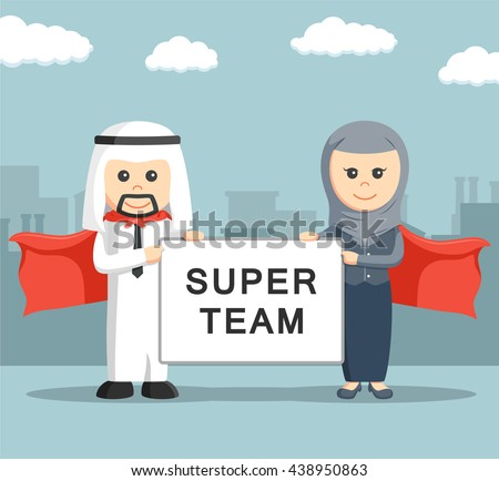 Businessman and businesswoman of arab holding super team board